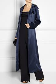adam lippes silk satin trench coat in blue lyst