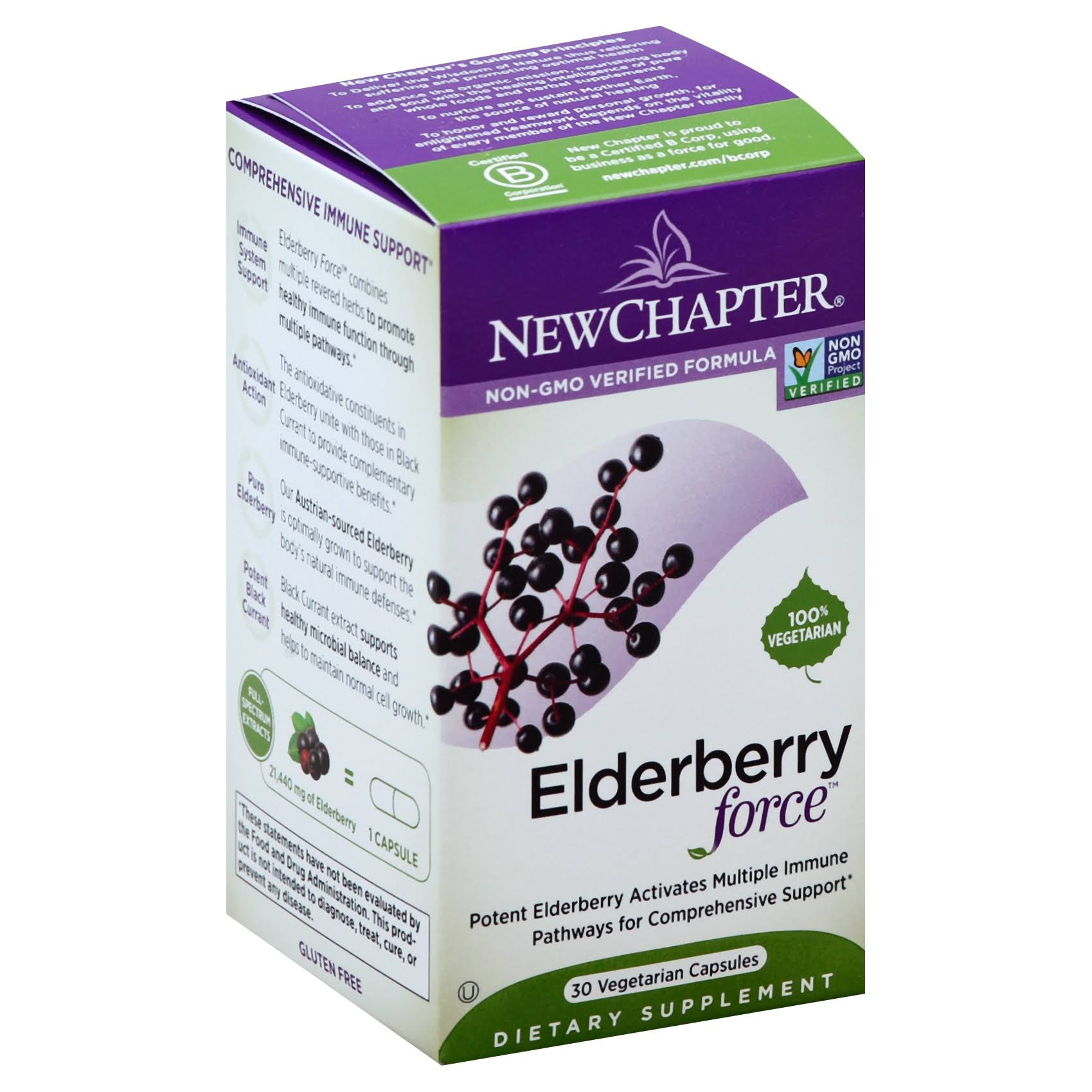 New Chapter Elderberry Force Dietary Supplement - 30 Capsules
