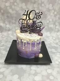 Purple 40 and Fabulous Double Barrel Drip Birthday Cake