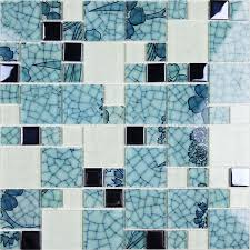 glass mosaic wall murals blue and white glass tile designs blh016