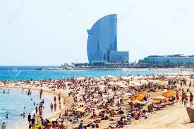 100 The W Barcelona BARCELONA SPAIN JUNE 28 Barceloneta Beach Against