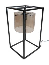 Decorative Metal Lamp Banding by Table Lamp Oil Rubbed Bronze Smoke Glass Hand Blown Shade