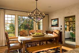 Extra Long Curtains Dining Room Rustic With Bare Bulb Chandelier Centerpiece Image By Witt Construction