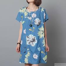 blue sundress floral cotton dress plus size shift dress1 1 jpg
