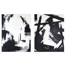 Large Black And White Oil On Canvas Abstract Paintings By Guillermo Calles For Sale