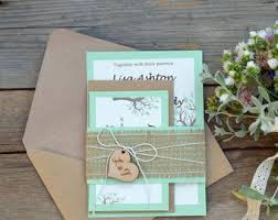 Rustic Wedding Invitation Suite Mint Green Burlap Tree Invitations Set Of 20