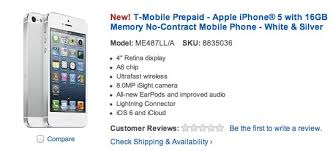 T Mobile prepaid iPhone 5 offered by Best Buy and Walmart