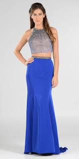 royal blue two piece long prom dress halter jeweled bodice cut out