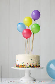 my birthday cake with colorful balloons by ruth black
