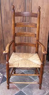 Massachusetts Shaker Style Ladder Back Rush Seated Arm Chair ...