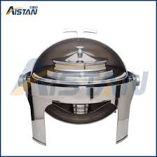 Zc204 Stainless Steel Electric Chafing Dish With Round Lid For Soup Station