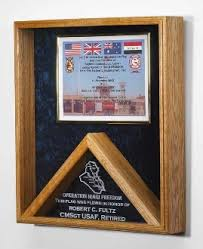 Memorial Flag And Certificate Display Case Shadow Box Our Military Medal Is