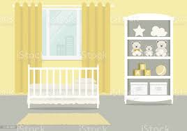 gelbes kinderzimmer für ein neugeborenes baby schlafzimmerinterieur für ein kleines stock vektor und mehr bilder babybett