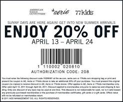 American Eagle, Aerie & 77Kids 20% Off Printable Coupon (4 ... The American Eagle Credit Cards Worth Signing Up For 2019 Everything You Need To Know About Online Coupon Codes Aerie Reddit Ergo Grips Coupon Code Foot Locker Employee Online Plugin Chrome Cssroads Auto Spa Coupons Codes 2018 Chase 125 Dollars How Do I Get Pink In The Mail Harbor Freight Tie Cncpts Elephant Bar September Eagle 25 Off Armani Aftershave Balm August Ragnarok 2 How