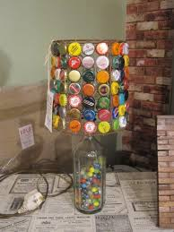 Best Appealing Table Lamp With Used Bottle Caps Shade And Glass Handle As Brilliant Art