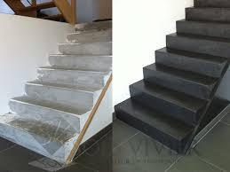 beton cire sur escalier bois habillage bois marches balancées et droite sur escalier béton