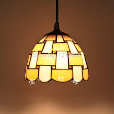 Retro Tiffany Style Pendant Lamp Stripe Stained Glass Lampshade For
