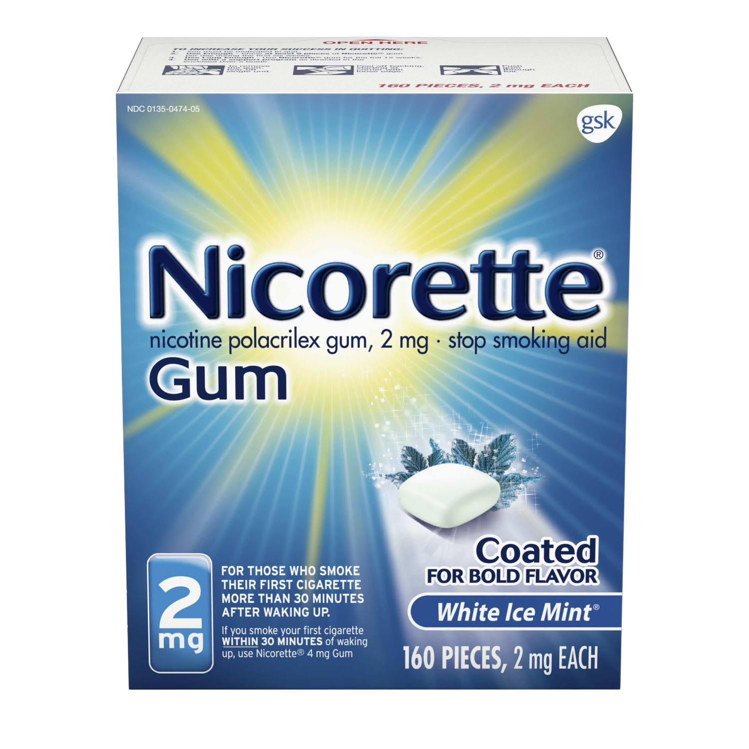 Nicorette Nicotine Gum to Stop Smoking 2mg - White Ice Mint, 160 Count