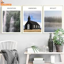 100 River House Decor Mountain Waterfall Landscape Wall Art Canvas Painting Nordic Posters And Prints Wall Pictures For Living Room