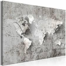 leinwand bilder weltkarte beton grau antik wandbilder