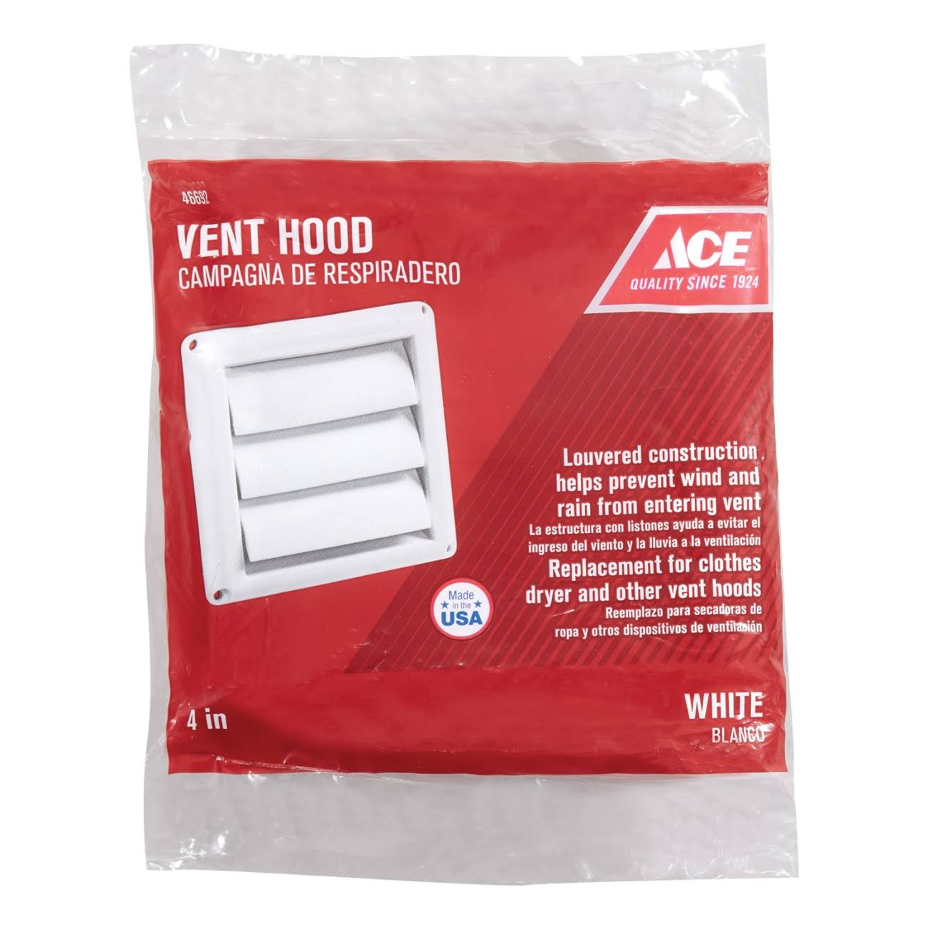 "Ace Vent Hood, Louvered, 4"", White"