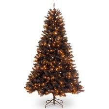 North ValleyR 65 Black Spruce Artificial Christmas Tree With 450 Orange Lights Stand