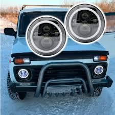100 Led Lights For Trucks Headlights Lada 4x4 Urban Niva 7 LED Headlight Conversion Kit DLR Light