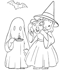 Halloween Ghost And Witch Costume Coloring Page