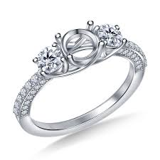Trellis Three Stone Diamond Engagement Ring In Pave Setting