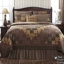 Country Rustic Brown Plaid Patchwork Twin Queen Cal King Size Quilt Bedding Set