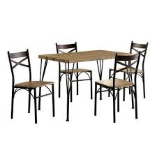 Stasel 5 Piece Grey And Dark Bronze Dining Set