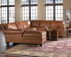 classic living room with light brown leather u shaped living