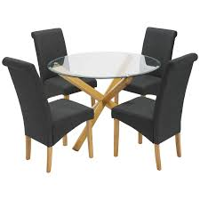 Solid Oak & Glass Round Dining Table And Chair Set With 4 Seats ... Amazoncom Coavas 5pcs Ding Table Set Kitchen Rectangle Charthouse Round And 4 Side Chairs Value City Senarai Harga Like Bug 100 75 Zinnias Fniture Of America Frescina Walmartcom Extending Cream Glass High Gloss Kincaid Cascade With Coaster Vance Contemporary 5piece Top Chair Alexandria Crown Mark 2150t Conns Mainstays Metal Solid Wood Round Ding Table Chairs In Tenby Pembrokeshire Phoebe Set Marble Priced To Sell