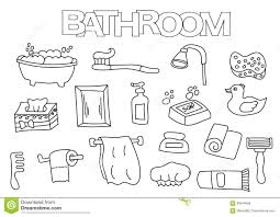 Royalty Free Vector Download Bathroom Elements Hand Drawn Set Coloring Book Template