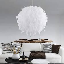 fulllove pendelleuchten weiße feder le federle deckenleuchten mit e27 lenfassung für wohnzimmer schlafzimmer
