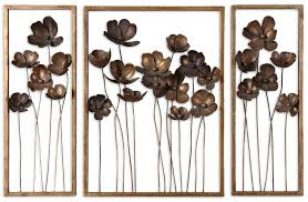 Large Metal Flower Wall Decor Flowers Sculptures Burn Gold Rustic Wonderful Decorative