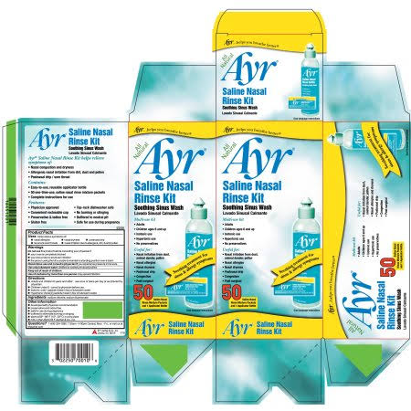 Ayr Saline Nasal Rinse Kit - Soothing Sinus Wash, 50pcs