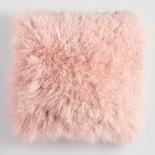Blush Mongolian Lamb Fur Throw Pillow Pink 18