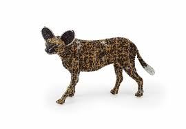 African Wild Dog From The At Art Limited Edition Collection Handcrafted Bead And Wire Animal Figurine