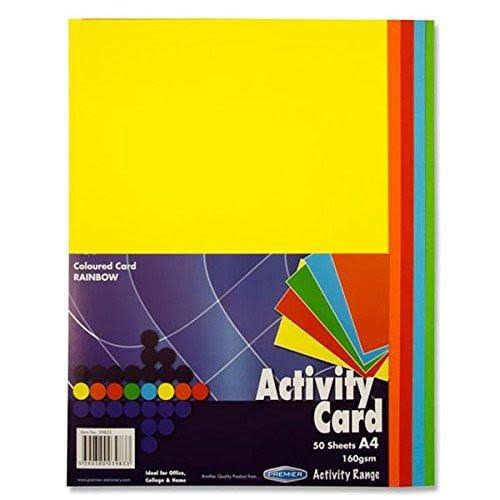 Premier Coloured Activity Card - A4, 50 Pack