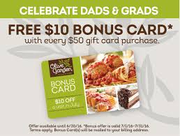 Olive Garden FREE $10 Bonus Card with Every $50 Gift Card