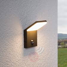 led outdoor wall light nevio with motion detector lights co uk