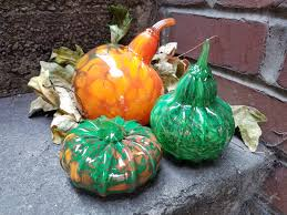 Glass Blown Pumpkins Seattle by Autumn Gourds Set Orange And Green Spotted Blown Glass Set Of