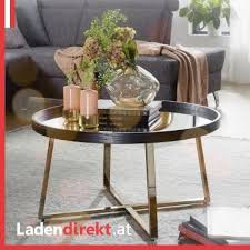 wohnling couchtisch in gold mit glas platte für s wohnzimmer