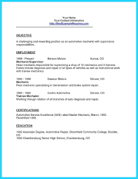Auto Mechanic Resume Objective Examples Automotive Technician For Best Ideas Effortless So