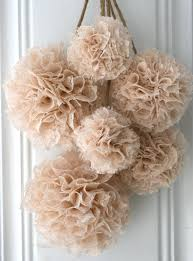Baptism Decoration Ideas Pinterest by Wedding Decor Set Of 6 Hanging Pom Poms Brown Ivory And