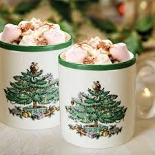 Spode Christmas Tree Mugs With Spoons by Park Promotions Christmas Tree