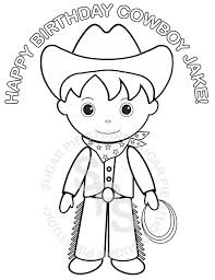 Personalized Printable Cowboy Birthday Party Favor Childrens Kids Coloring Page Book Activity PDF Or JPEG File