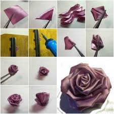 How To Make Purple Ribbon Rose Step By DIY Tutorial Instructions