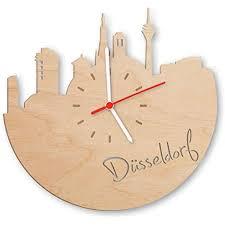 skyline düsseldorf wanduhr aus birken holz made in germany design uhr aus echtholz wand deko aus birke originelle wand uhr moderne wand uhr im